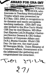 Award for GNA IMT (GNA Institute of Management and Technology)