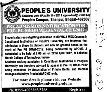 MD,MS and MDS Courses (Peoples University)