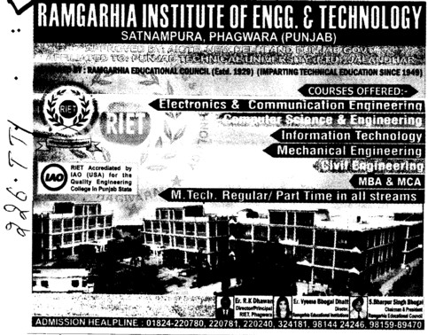 MTech regular and Part time (Ramgarhia Institute of Engineering and Technology RIET)