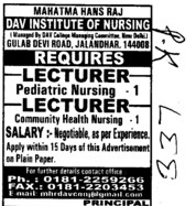 Lecturer and Pediatric Nurse (Mahatma Hans Raj DAV Institute of Nursing)