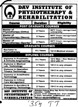 Post Graduate and Diploma Courses (DAV Institute of Physiotherapy and Rehabilitation)