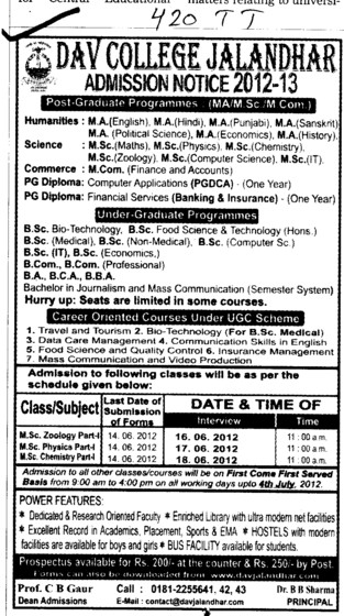 BA,BBA,BCA and MSc Courses etc (DAV College)