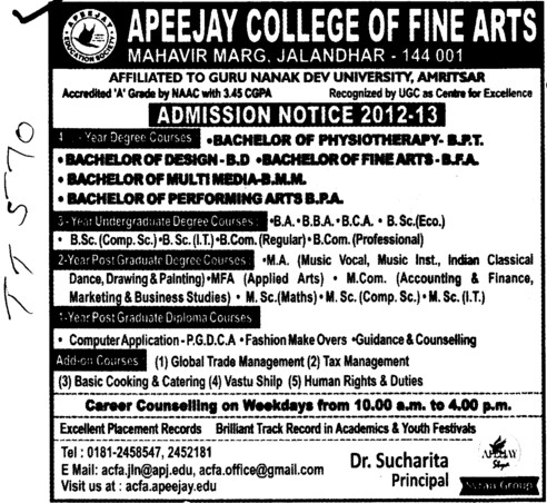 BA,BBA,BCA and MSc Courses etc (Apeejay College of Fine Arts)