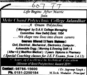 Three years Course in BTech (Mehr Chand Polytechnic College)