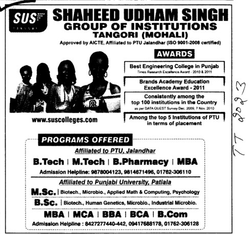 BTech,MTech,MBA and MCA Courses (SUS Group of Institutions)