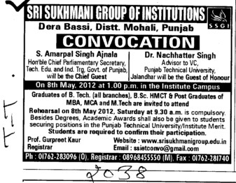 Annual Convocation 2012 (Sri Sukhmani Group of Institutes)