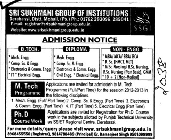 BTech,MTEch and PhD Programmes etc (Sri Sukhmani Group of Institutes)