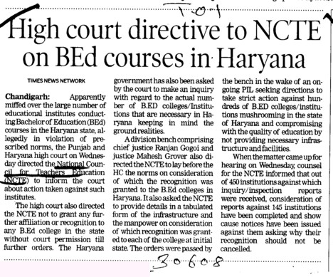 High Court directive to NCTE on BEd courses in Haryana (National Council for Teacher Education NCTE)