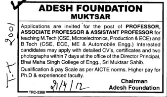 Professor,Associate Professor and Assistant Professor (Adesh Group of Institutions)