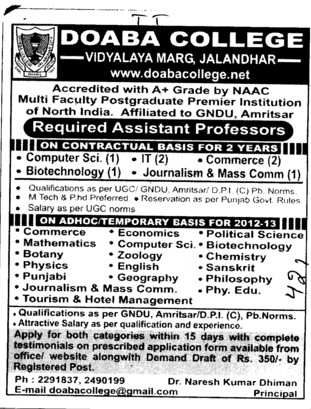 Asstt Professor on contract basis (Doaba College)