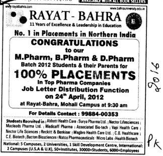 100 percent Placement Campus (Rayat and Bahra Group)