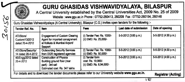 Outsourcing Security Services from DGR registered agencies etc (Guru Ghasidas University)