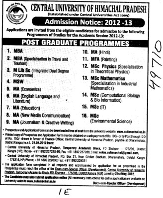 MBA,MA,MFA and MSc Programmes etc (Central University of Himachal Pradesh)