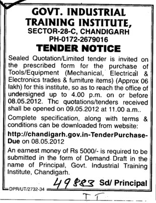 Purchase of Tools and Equipments (Industrial Training Institute (ITI))