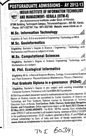 MSc in IT,Ecelogical Informatics and Computational Sciences etc (Indian Institute of Information Technology and Management)