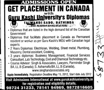 Get Placement in Canada (Guru Kashi University)