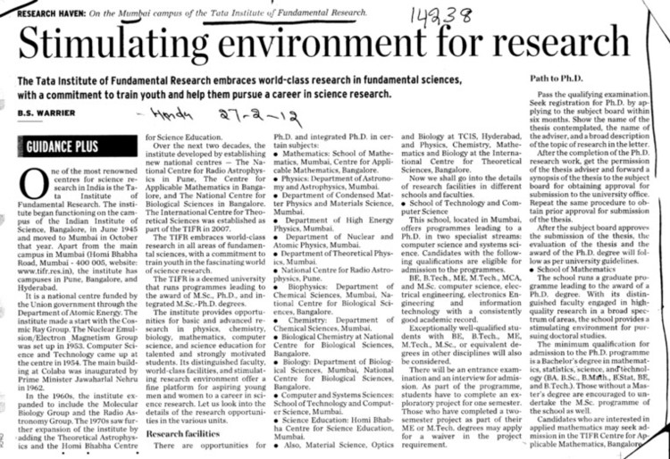 newspaper article on scientific research