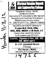 BTEch in all trades (Misrimal Navajee Munoth Jain Engineering College (MNMJEC))