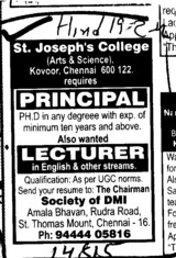 Principal and Lecturer (St Josephs College of Engineering)