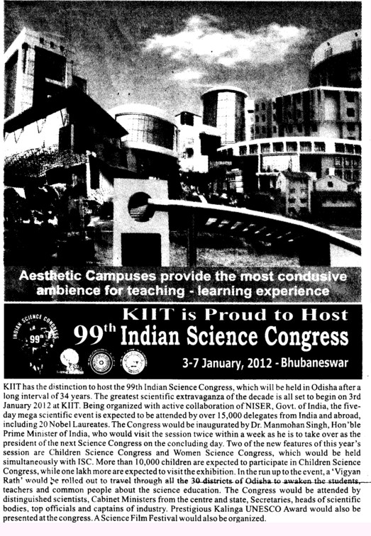 KIIT is proud to Host indian Science Congress (KIIT University)