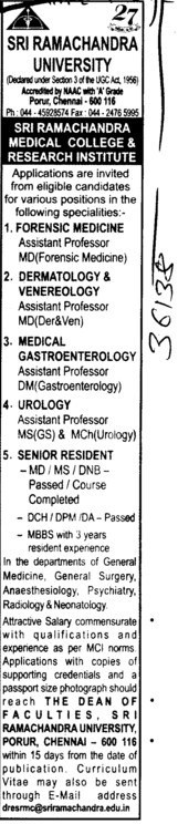 Asstt Professor and Senior Resident etc (SRM University)
