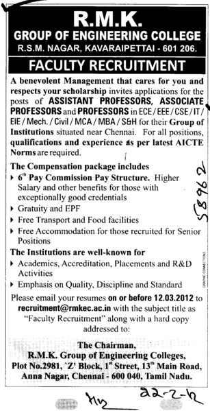 Professor,Asstt Professor and Associate Professor etc (RMK Group of Engineering Colleges)