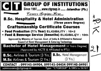 Bachelor of Hotel Management (CT Institute of Hotel Management and Catering Technology)