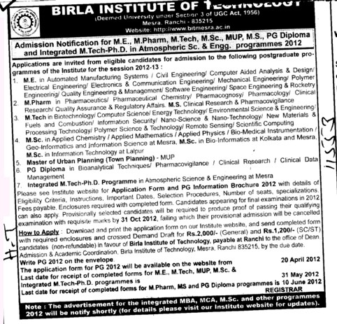 ME,M Pharm and PG Diploma Courses etc (Birla Institute of Technology (BIT Mesra))