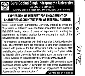 Chatered Accountant Firm and Internal Auditor (Guru Gobind Singh Indraprastha University GGSIP)