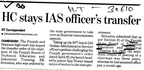 HC stays IAS officers transfer (Punjab State Board of Technical Education (PSBTE) and Industrial Training)