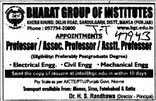 Professor,Asstt Professor and Associate Professor etc (Bharat Group of Institutions)