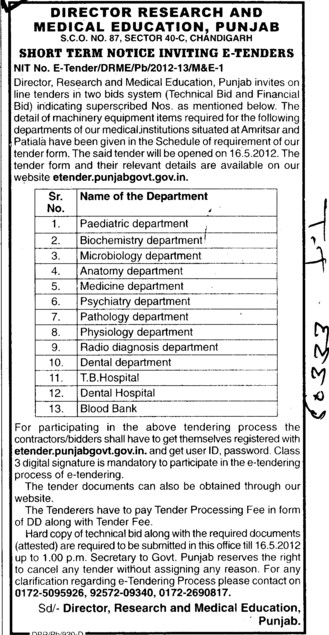 Machinery Equipments (Director Research and Medical Education DRME Punjab)