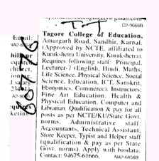 Lecturer and Librarian (Tagore College of Education)