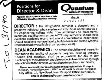 Director and Dean Academics (Quantum School of Technology (QST))