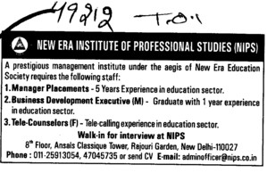 Manager Placements and Tele Counselors (New Era Institute of Professional Studies (NIPS))