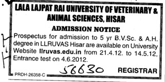 Five years BVSc and AH degree (Lala Lajpat Rai University of Veterinary and Animal Sciences)