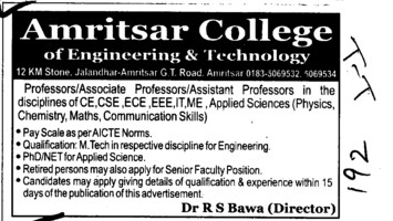 Professor,Asstt Professor and Associate Professor etc (Amritsar College of Engineering and Technology ACET Manawala)