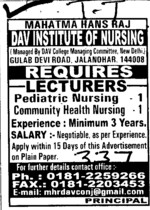 Lecturers on regular basis (Mahatma Hans Raj DAV Institute of Nursing)