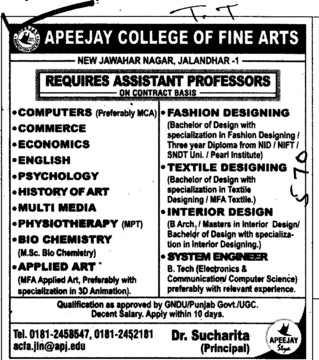 Asstt Professor on contract basis (Apeejay College of Fine Arts)