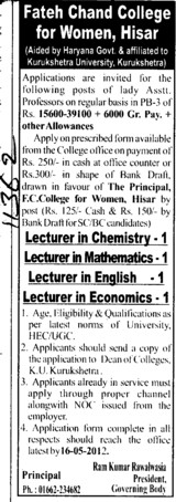 Lecturer for PCM (FC College for Women)
