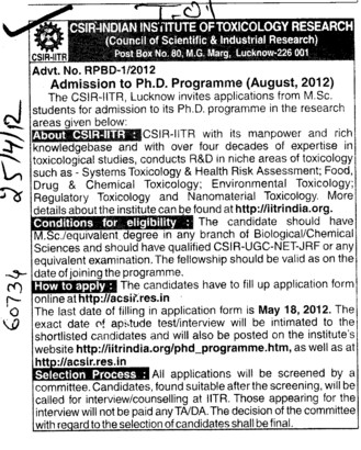 PhD Programme for MSc Students (CSIR India Institute of Toxicology Research)