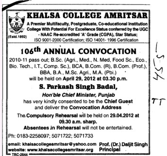 106th Annual Convocation 2012 (Khalsa College)