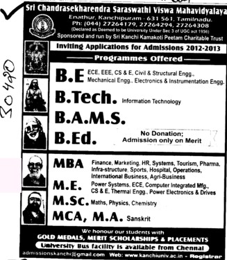 BE,BTech and BEd Courses etc (Sri Chandrasekharendra Saraswathi Vishwa Mahavidyalaya Deemed University)