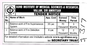 Fire Supersession system (Sri Guru Ram Das Institute of Medical Sciences and Research)