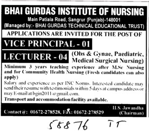 Vice Principal and Lecturer (Bhai Gurdas Institute of Nursing)