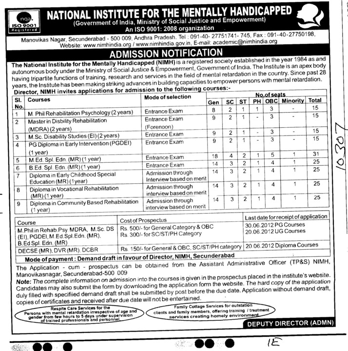 M Phil and PhD Programmes etc (National Institute for the Mentally Handicapped (NIMH))