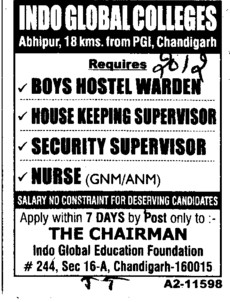 Boys Hostel Warden and Nurse etc (Indo Global Group of Colleges)