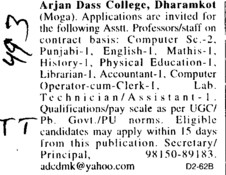 Asstt Professor on regular basis (Arjan Dass College Dharamkot)