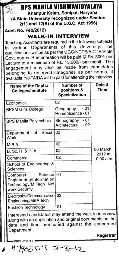 Lecturer on regular basis (BPS Mahila Vishwavidyalaya Khanpur Kalan)