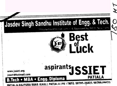 BTech and Engg Diploma (Jasdev Singh Sandhu Institute of Engineering and Technology JSSIET Kauli)
